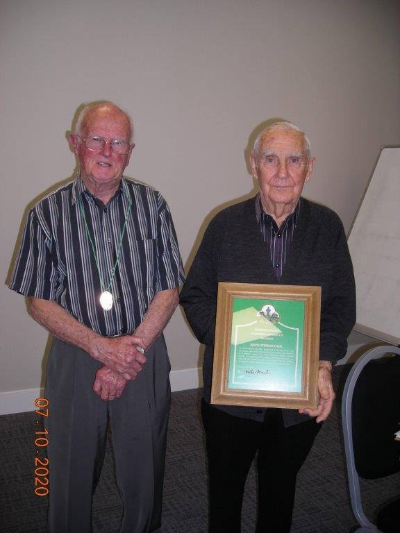 Keith Stinson (R) received a framed citation from Hibernian St Joseph's Branch President Mike Martin, in honour and recognition of his service as the patron of the Hastings Branch.